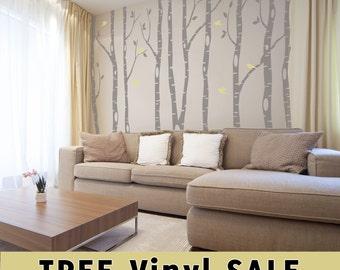 12 Birch Trees Wall Decal Forest Living Room 2 colors Birds Vinyl Sticker Nursery River Birch Tree