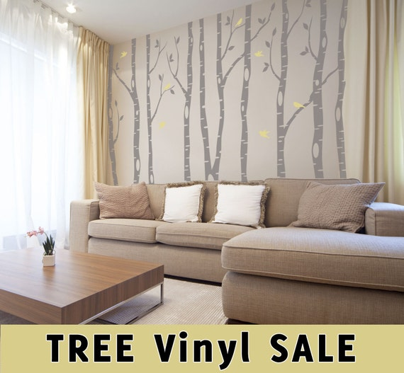 9 Birch Trees Wall Decal Forest Living Room 2 colors Birds Vinyl Sticker Nursery Tree