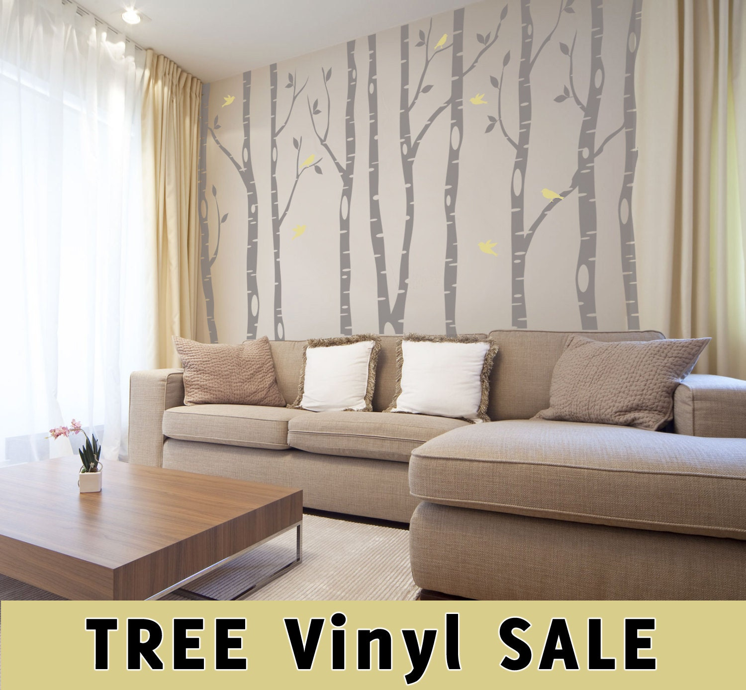 Trees Wall Decal 9 River Birch Trees Woodland Forest 2 Colors