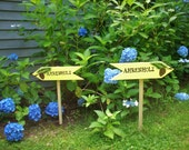 CUSTOM SIGNS, Personalized Hand Painted Signs, Directional Signs, Garden Signs, Signs with Stakes, Two Directional Arrows or Rectangles