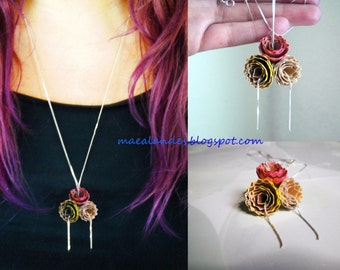 Flowers. Reclaimed wood necklace. Handmade Statement Necklace.