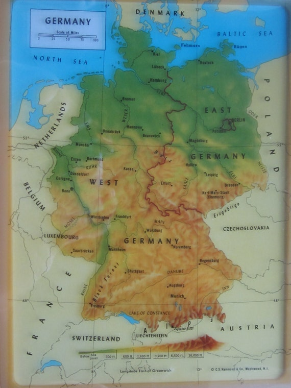 1969 Hammond Transparency Map of Germany