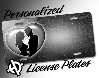 Personalized License Plate -AT1141- Custom License Plate Airbrush License Plate Monogram - Grey heart love Couple License Plate