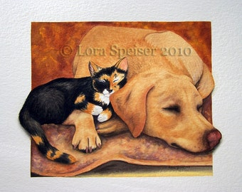 Comfort and Joy Watercolor -Limited Edition Print of Original Painting Dog Cat Labrador Calico Kitty Home Office