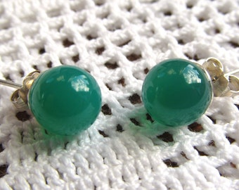 Sterling Silver Post Earrings with 8mm Half Drilled Green Agate Gemstone Spheres