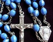 Vintage French Rosary Crucifix Blue Glass Madonna Sacred Heart Medallion Lourdes Cross