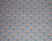 Roll French Wallpaper Blue and Cream Ditsy Floral 1960s 35 ft