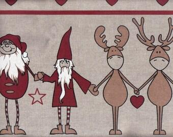 2 yds Christmas Fabric for Tree Skirt -Reindeer & Santas Helpers Xmas Material 2 x 1.5 yds/mtrs Noel Tissu