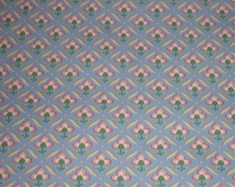 French Wallpaper Blue and Cream Ditsy Floral 1960s 35 ft