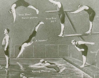 Men Swimming Diving Athletic Reference Chart Rotogravure Montage To Frame 1920s