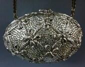 SALE! Rare Vintage JUDITH LEIBER Silver Egg Purse from 1980 Swarovski Crystals Minaudiere Clutch Bag w Shoulder Chain