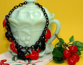 Retro Handmade CHERRY Charm NECKLACE - Resin Pendants Cherries - Vintage Retro 40s 50s Bakelite Inspired - Rockabilly VLV Car Culture