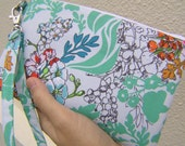WEDDING CLUTCH 2 pockets,medium,ice blue,flowers,wristlet, gift for her spring wedding - Tangle in moss