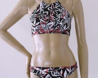 High Neck Halter Bikini Top and Full Coverage Bikini Bottom in Black, White and Red Batik Print in S.M.L.XL