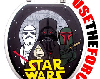 Star Wars Hand Painted Toilet Seat Halloween Man Cave Bathroom Wall Art Decor Remodel Gift Outer Space Sci Fi
