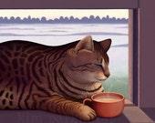 Morning Mug - Cozy Cat With Coffee - signed art print