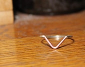 V Ring - Sterling Silver Band  - Brass / Copper / Sterling Silver