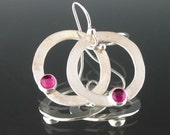 Pink Ruby Earrings // Silver and Ruby Earrings // Silver Hoop Earrings // Ruby and Silver Circle Earring // Silver Ruby Earrings // SRADJ
