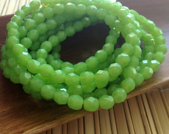 Czech glass beads, round beads,  faceted firepolished beads apple green 6mm 20 pack