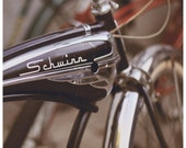 Bicycle Photography - Bikes - Fine Art Photograph - Schwinn - Bike Photograph - Summer - Red - Black - Vintage Letting - Type - Text - Font