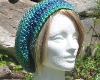 Crocheted Slouchy Hat - Crocheted Beret in Greens and Blues - Women's Hat - Blue and Green Hat - Autumn Accessories