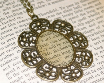 Literary Necklace - Jane Eyre, Mr. Rochester - Charlotte Bronte