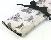 Large Knitting Needle Case - Study of Butterflies - Multi 30 black pockets for straights, circulars and double points