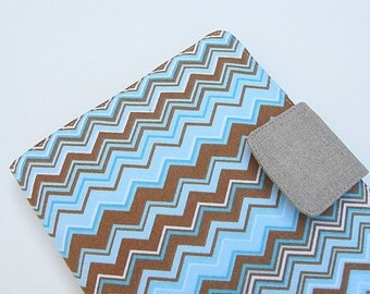 iPad Mini Cover Kindle Fire Cover Nook Simple Touch Cover Kobo Cover Case Blue and Brown Chevron Zig Zag eReader