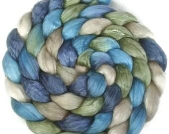 Handpainted Merino Tencel Wool Roving - 4 oz. BLUE EYES - Spinning Fiber