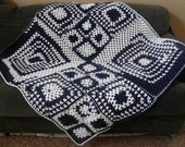 NAVY BLUE and WHITE afghan/lapghan/throw/blanket