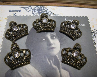 5 crowns with rhinestones ox brass roses and cross
