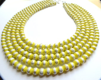 CLEARANCE- The Jamie- Yellow and Silver Striped Glass Statement Necklace