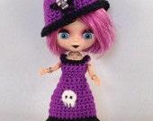 Petite Blythe Halloween Skull Dress and Hat