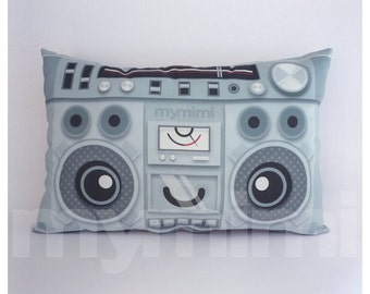 "Hip Hop, Old School, Music Pillow, Vintage Radio, 80's Music, Stereo, Hip Hop, Throw Pillow, Cushion, Dorm, 17 x 10"""