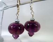 Plum Crazy Dichroic Donut Lampwork Beads (E118) With Swarovski Crystals and Sterling Silver Leverback Ear Wires