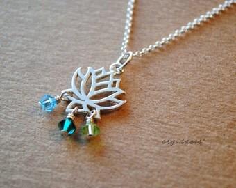 LOTUS sterling silver swarovski crystal choices birthstone necklace length clasp choice by srgoddess