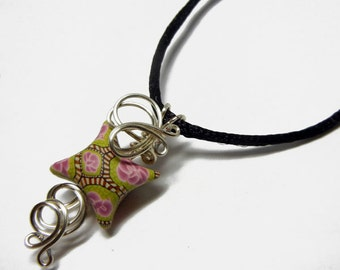 Wire Wrap Polymer Clay Fairy Pillow Pendant with Necklace - Design 9