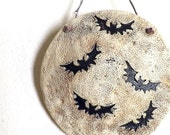 Bats and the Moon, Porcelain Ceramic Wall Art, Made to Order