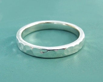 Hand Hammered Wedding Ring in Sterling Silver, Choose a Width, READY TO SHIP