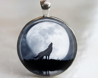 Beware the Full Moon -  Artist's Pendant, Necklace or Key Chain - AshenSorrowDesign - Wolf - Halloween