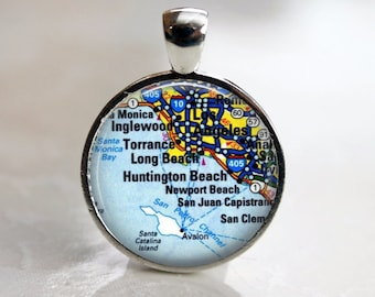 Personalized Custom Map Pendant - choice of Bezel Color and Size