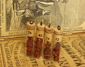 1pc TINY GEMSTONE VIAL Vintage Red Jasper