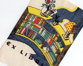 1pc GORGEOUS RETRO BOOKPLATE 1940s Vintage