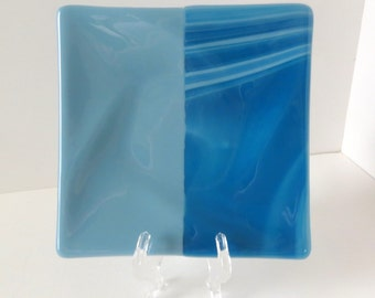 Fused Glass Dish, Dinning and Entertaining, Mixed Blue Tones, Medium Size Serving Dish, Statteam
