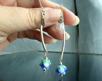 Long Blue Rose Earrings in sterling silver lampwork glass flowers leaves tapered curved