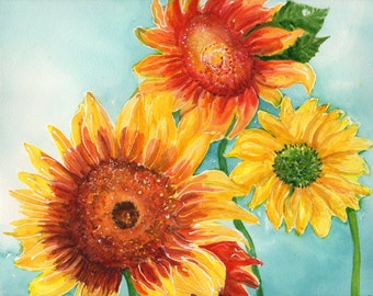 Sunflowers watercolor painting original, blue sunflower wall art, original flowers watercolor, sunflower decor, sunflower painting