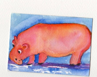 ACEO Coral Pink hippo  original watercolor painting. small funny animal art, art card, SharonFosterArt, SharonFosterArt