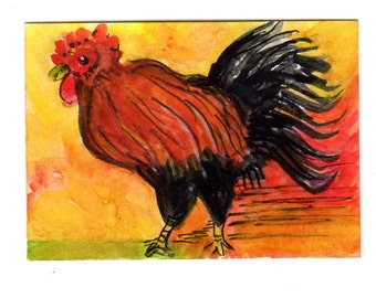 ACEO original Rooster Watercolor Painting, Watercolor,  Pen & Ink Art Card, Colorful Original Chicken painting illustration art, miniature