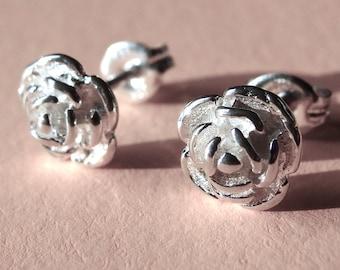 Studs Rose Flower Stud Earrings Rose Post Sterling Silver Rose Earrings