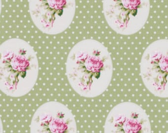 Sunshine Rose by Tanya Whelan Fabric / Old Time Rose in Green  - 1 Yard Cotton Quilt Fashion Fabric